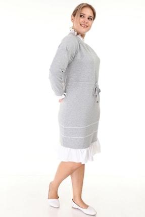 Lir Kadın Gri Büyük Beden Eteği Fırfır Uzun Kollu Elbise L1632 2