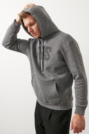Erkek Slim Fit Pamuklu Kanguru Cepli Şardonlu Kışlık Kapüşonlu Sweat 5827003 resmi