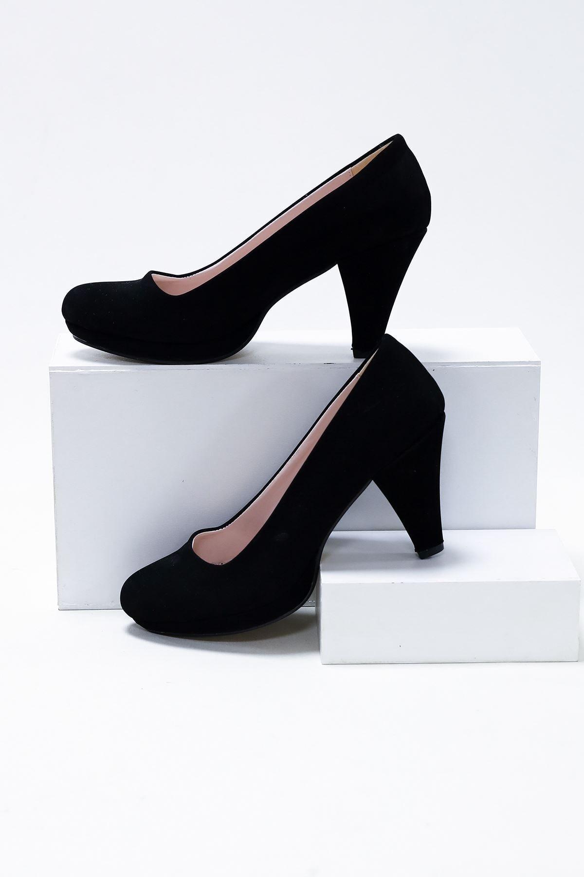 epaavm Kadın Siyah Süet 10'luk Dekolte Platform Ayakkabı