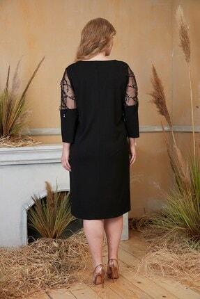 Rmg Kadın Siyah Kolları Pul Payet İşlemeli Büyük Beden Siyah Abiye Elbise 3