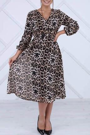 Elbise Delisi Kadın Kahverengi Leopar Midi Elbise 1