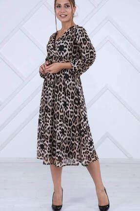 Elbise Delisi Kadın Kahverengi Leopar Midi Elbise 2