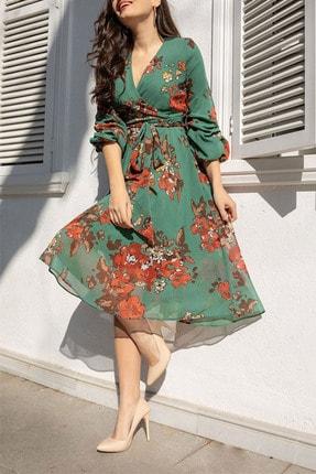 Elbise Delisi Kadın Yeşil Midi Şifon Büyük Beden Elbise 0