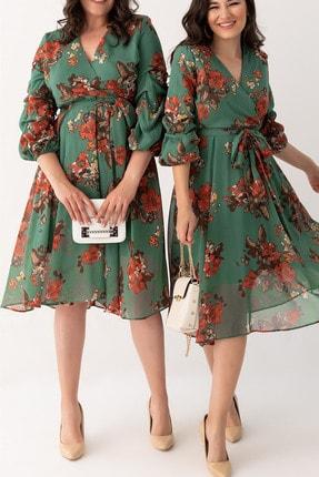 Elbise Delisi Kadın Yeşil Midi Şifon Büyük Beden Elbise 1