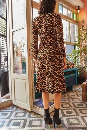 Elbise Delisi Kadın Kahverengi Leopar Desenli Midi Boy Kruvaze Yaka Kemerli Elbise 2