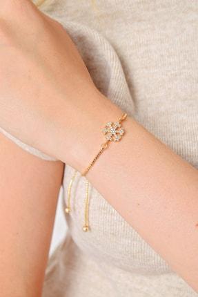 Trend Alaçatı Stili Kadın Gold Kar Tanesi Taşlı Asansörlü Bileklik ALC-A2019 0