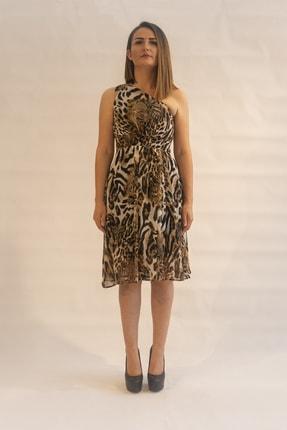 Kadın Leopar Desenli Tek Omuzlu Elbise 5571