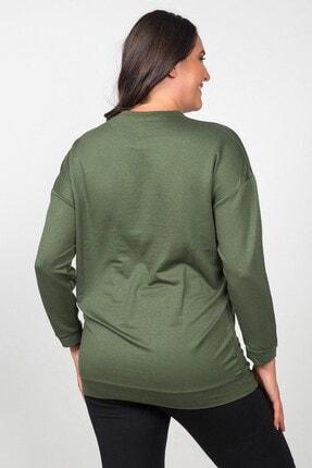 Womenice Kadın Haki Düz Kesim Büyük Beden Sweatshirt 3