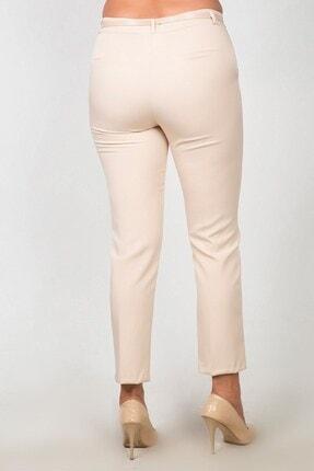 Womenice Kadın Krem Yüksek Bel Klasik Kumaş Pantolon 2
