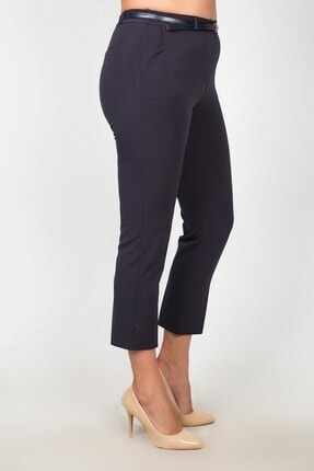 Womenice Kadın Lacivert Yüksek Bel Klasik Kumaş Pantolon 1