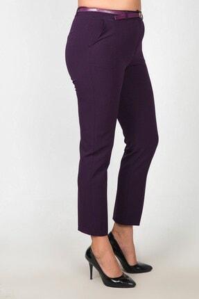 Womenice Kadın Mürdüm Bel Klasik Kumaş Büyük Beden Pantolon 0