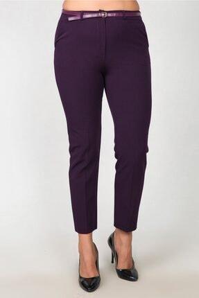 Womenice Kadın Mürdüm Bel Klasik Kumaş Büyük Beden Pantolon 1