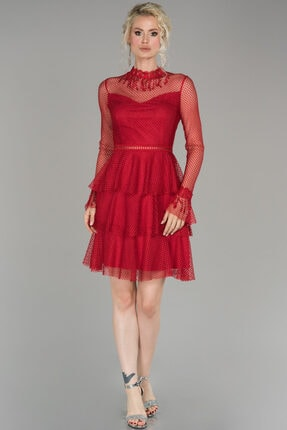 Abiyefon Kadın Kırmızı Kısa Güpürlü Mezuniyet Elbisesi 0