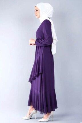 adressbutik Kadın Mor Asımetrik Volanlı Şifon Elbise 1