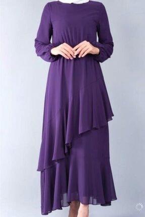 adressbutik Kadın Mor Asımetrik Volanlı Şifon Elbise 2