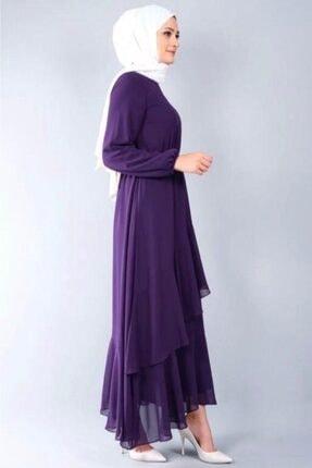 adressbutik Kadın Mor Asımetrik Volanlı Şifon Elbise 4