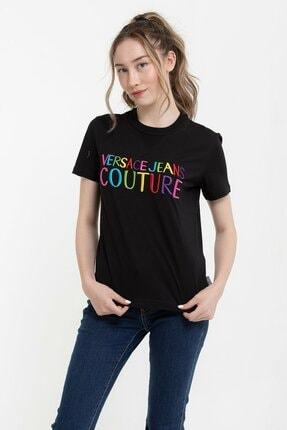 Versace Renkli Logo Baskılı Embro Pamuklu Kadın T-shirt 0