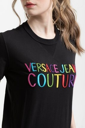 Versace Renkli Logo Baskılı Embro Pamuklu Kadın T-shirt 3
