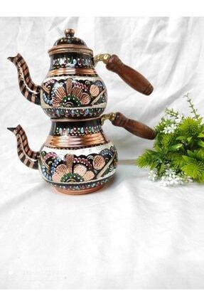 Renkli Bakır Çaydanlık Bakır Çaydanlık İşlemeli