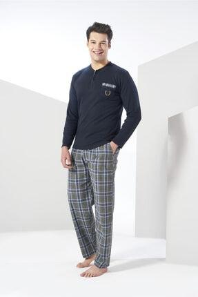 Erkek  Lacivert Kışlık Dokuma Penye Pijama Takımı resmi