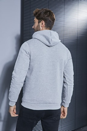 Sateen Men Erkek Gri Kapüşonlu Baskılı Sweatshirt 1