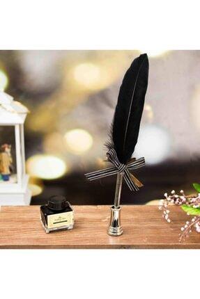hediyerengi Masa Üstü Tüylü Divit Kalem Ve Mürekkep Seti Siyah 2