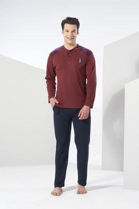Erkek Bordo Kışlık Penye Pijama Takımı resmi