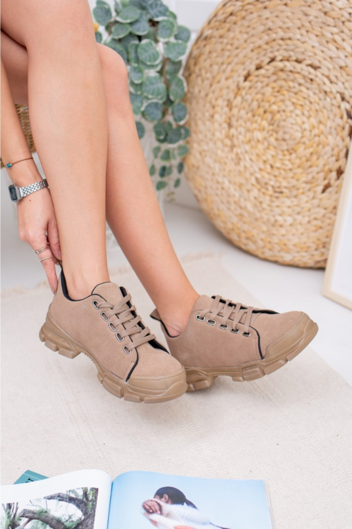 MKN Kadın Siyah Bağcıklı Cilt Casual Ayakkabı