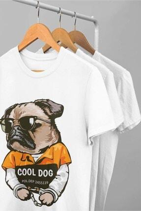 pierbypier Havalı Karizmatik Kelepçeli Suçlu Köpek Dijital Baskılı Funny Dog T-Shirt 1