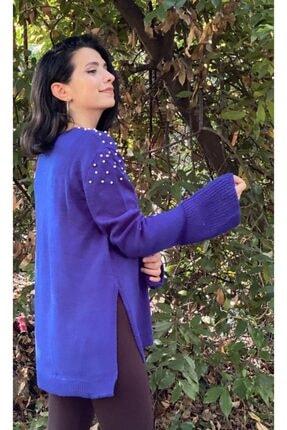 Kuvars Kadın Mavi Önü Boncuklu Kazak 2