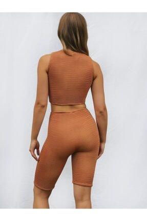 Sandshaped Kadın Turuncu Crinkle Biker Şort 4