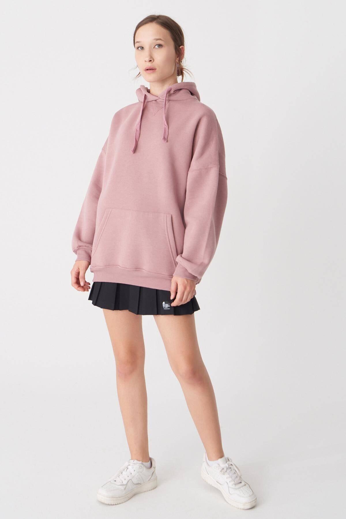 Addax Kadın Koyu Gül Kapüşonlu Sweatshirt S0519 - H7 ADX-0000014040 0