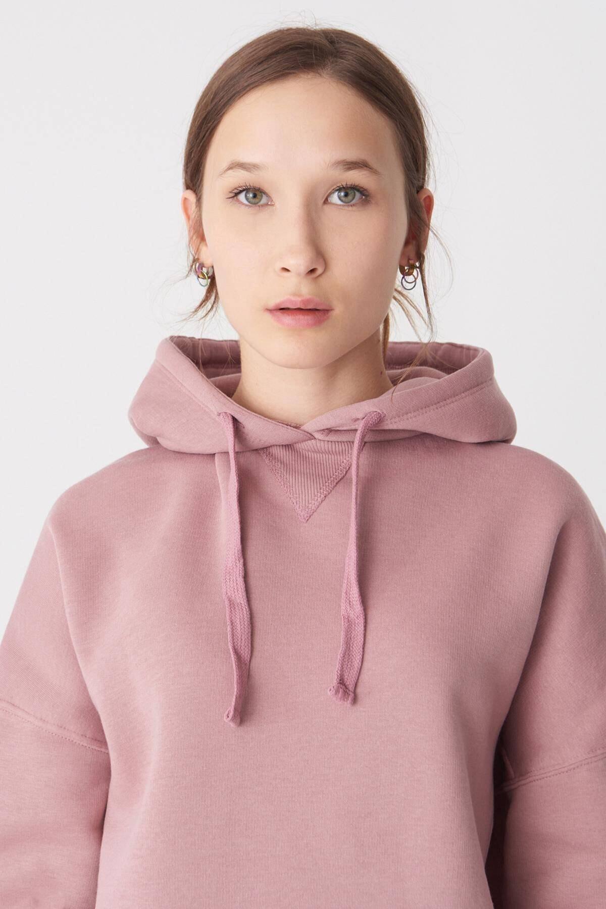 Addax Kadın Koyu Gül Kapüşonlu Sweatshirt S0519 - H7 ADX-0000014040 1