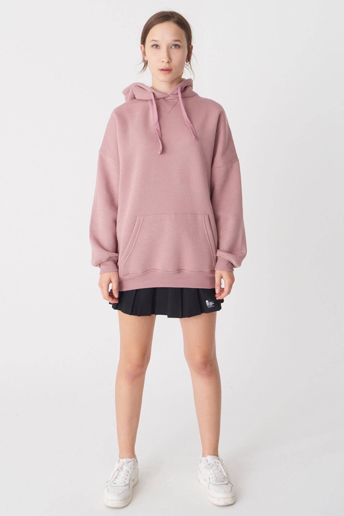 Addax Kadın Koyu Gül Kapüşonlu Sweatshirt S0519 - H7 ADX-0000014040 3