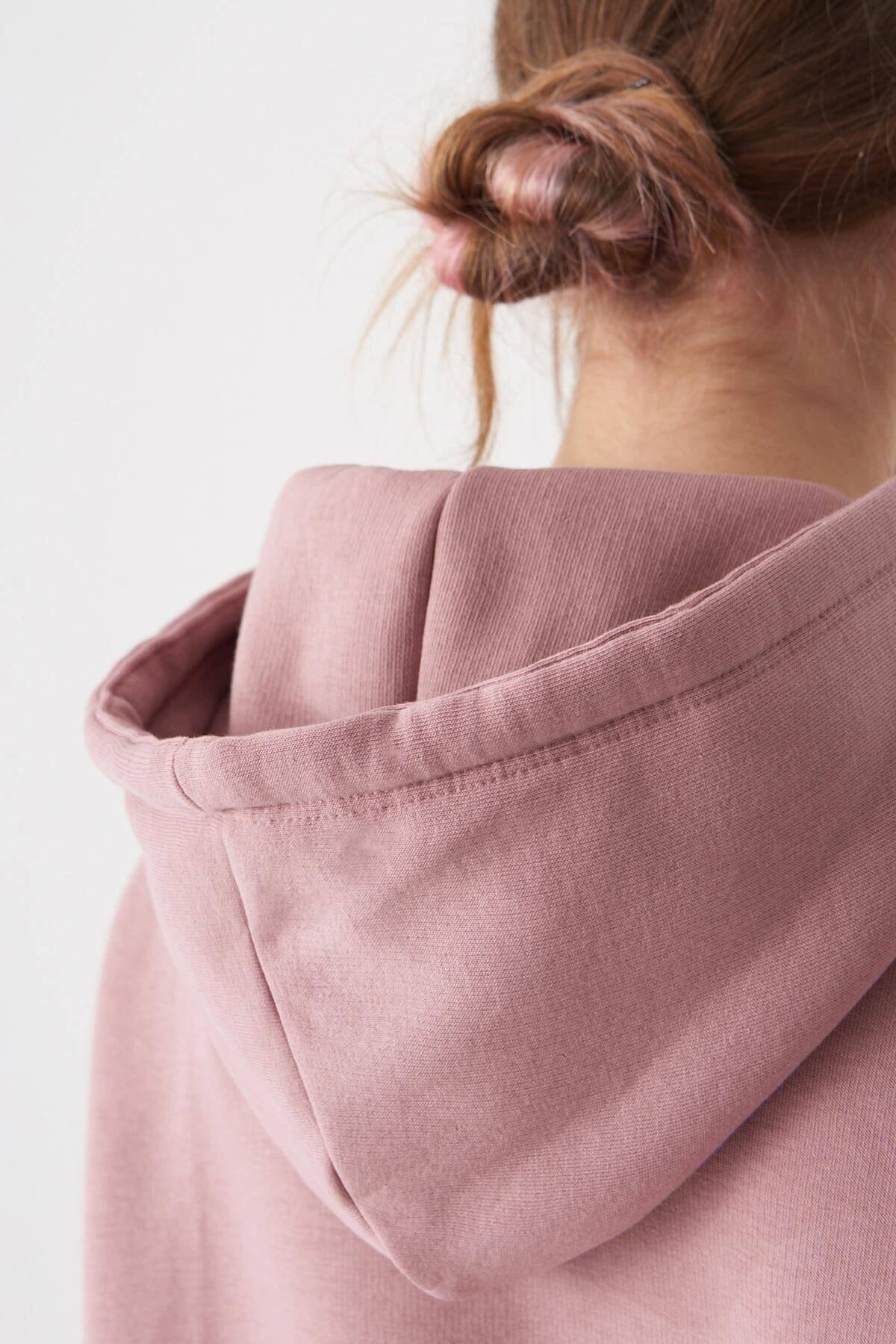 Addax Kadın Koyu Gül Kapüşonlu Sweatshirt S0519 - H7 ADX-0000014040 4
