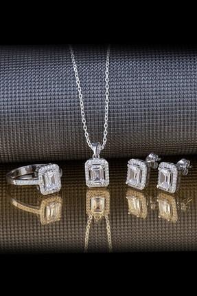 Else Silver Baget Pırlanta Tasarımı Gümüş Takı Seti 0