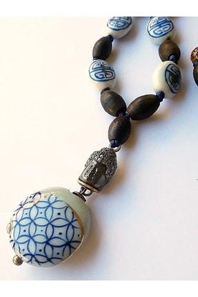 Zeynep Erol Jewelry Altın Elmas Antik Parçalı Bleu Blanc Mala Kolye 1
