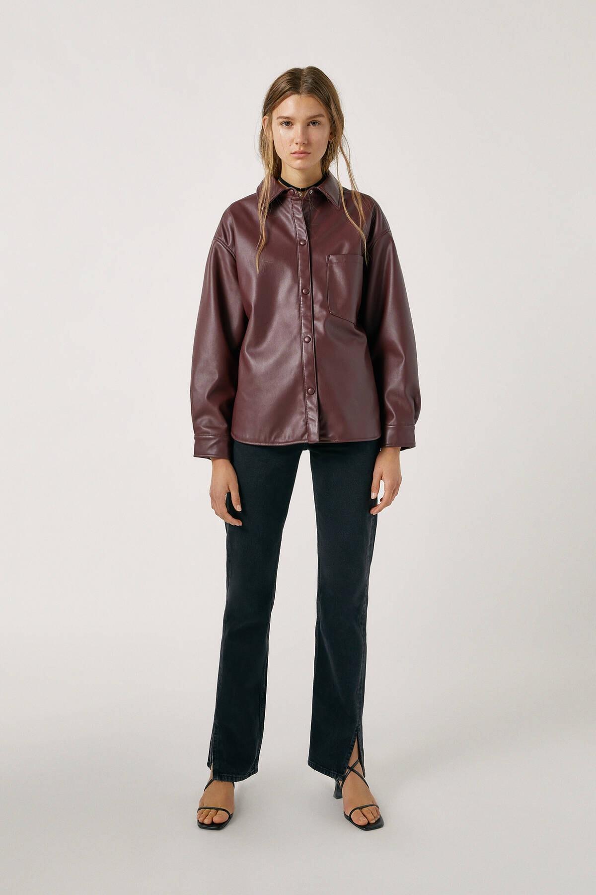 Pull & Bear Kadın Siyah High Waist Jeans With Seam Detail 09683326 0