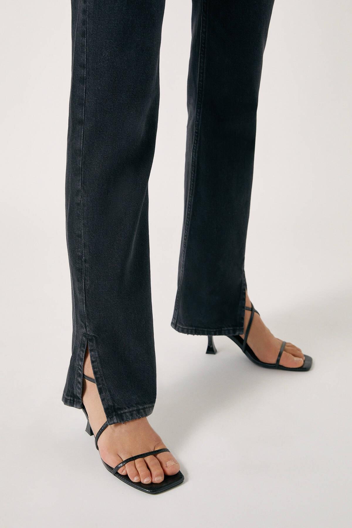 Pull & Bear Kadın Siyah High Waist Jeans With Seam Detail 09683326 1