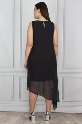 Şans Kadın Siyah Şifon Detaylı Abiye Elbise 65N18195 1