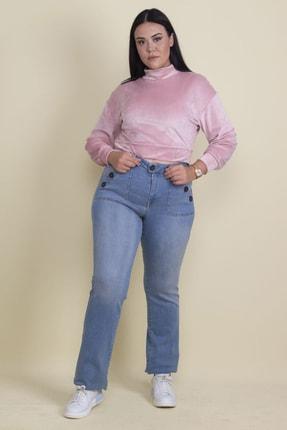 Şans Kadın Mavi Düğme Ve Cep Detaylı Likralı Kot Pantolon 65N18144 1