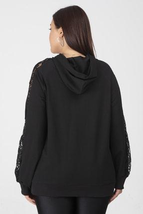 Şans Kadın Siyah Dantel Ve Cep Detaylı Kapşonlu Sweatshirt 65N18127 1