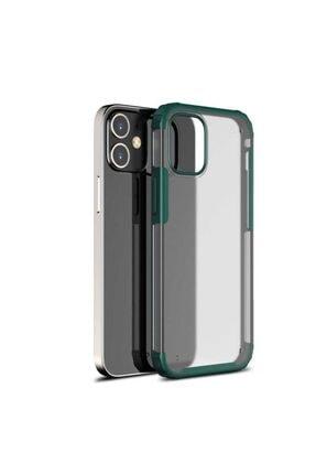 Pickcase Apple Iphone 12 Pro 6.1 Kılıf Kamera Korumalı Arkası Mat Kenarları Koyu Yeşil Arka Kapak 0