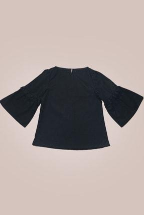 GİST Kız Çocuk Siyah Kolları Dantel Detaylı Bluz 0