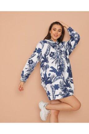 ModaSehle Kadın Lacivert Desenli  İki İplik Sweatshirt Sp1001 1