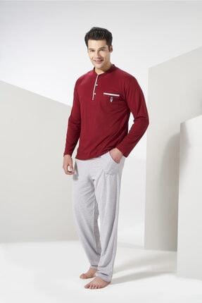 Erkek Bordo Gri  Mevsimlik Pamuklu Pijama Takımı resmi