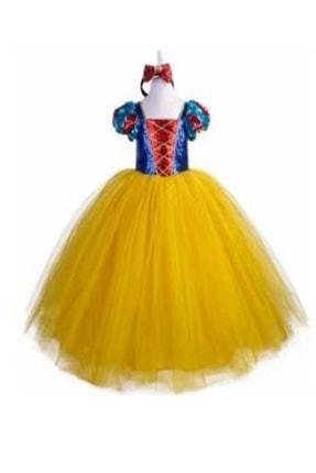DEHAMODA Kız Çocuk Sarı Tarlatanlı Pelerin Ve Taç Hediyeli Pamuk Prenses Elbise 0