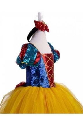 DEHAMODA Kız Çocuk Sarı Tarlatanlı Pelerin Ve Taç Hediyeli Pamuk Prenses Elbise 1