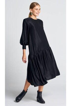 AIGYN Kadın Siyah Asimetrik Trend Saten Elbise 1