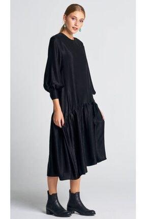 AIGYN Kadın Siyah Asimetrik Trend Saten Elbise 2